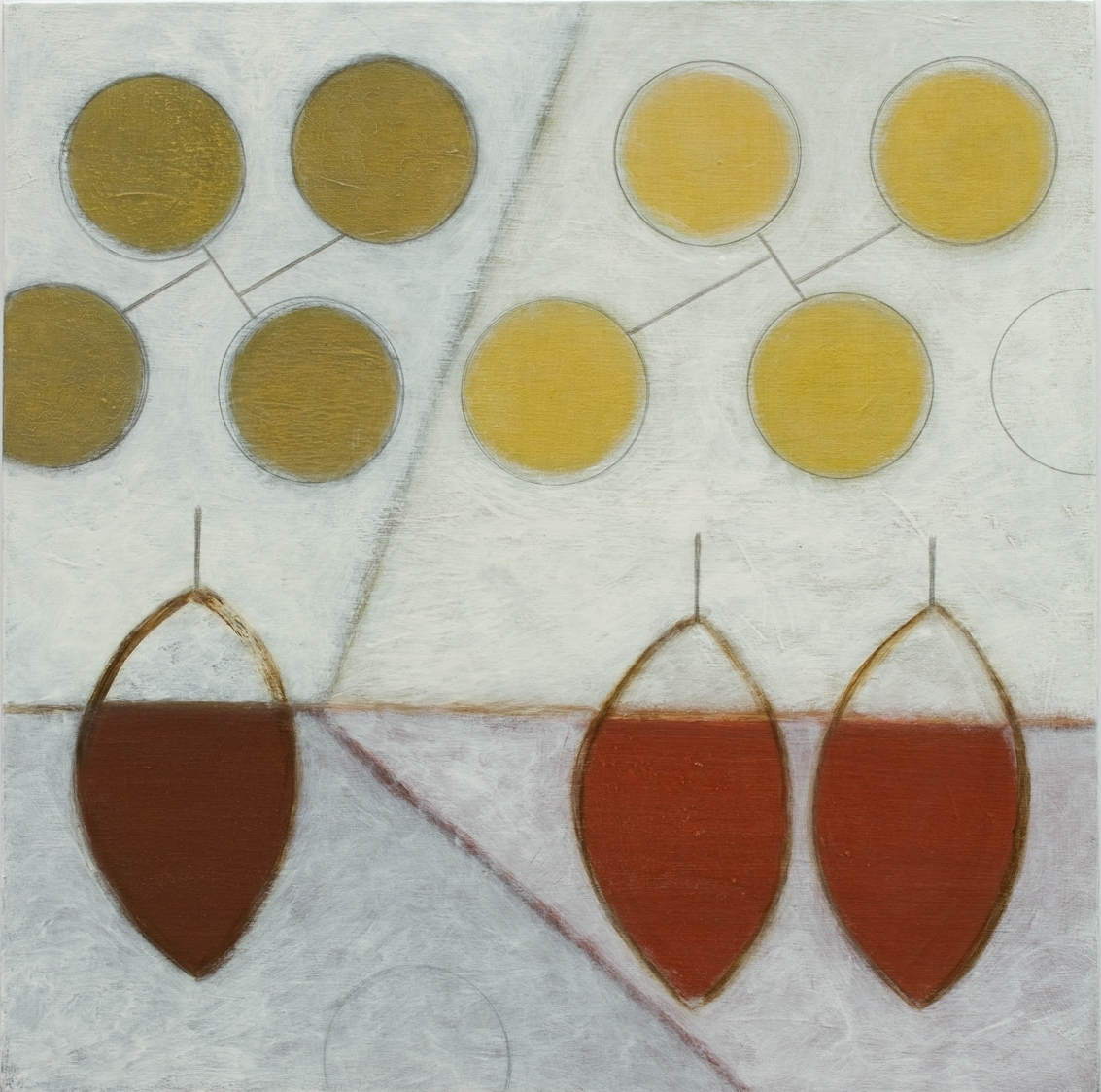 Leaf-pods with Circles      24 x 24      SOLD