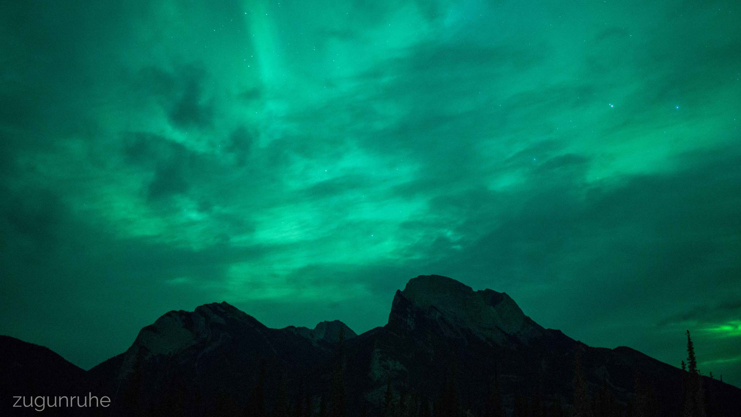 Northern lights obscured by clouds