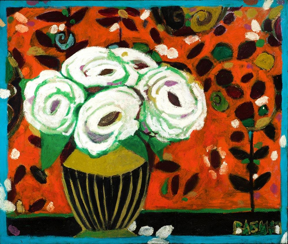 White Roses on Orange   -  150cm x 135cm,Oil on Canvas