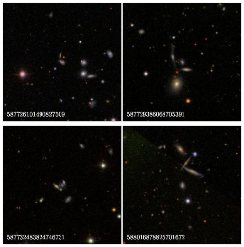 Figure A2 of  Scudder et al. (2012a) . Four isolated compact groups of galaxies, from the Sloan Digital Sky Survey Data Release 7.  The SDSS object ID for the galaxy in the exact centre of the image is marked in the bottom left hand corner of each image.