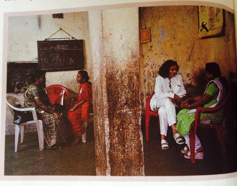 Bianca Jagger at a shelter in Bow Bazaar, Calcutta, India.