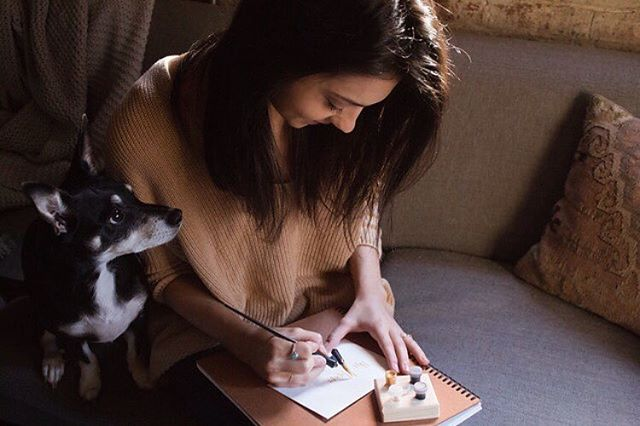 Havent done an introduction in sooo very long so wanted to give a little peek into the person behind the pen for anyone recently tuning in!  Hey, I'm Meg! Currently splitting my time between an apt in Atlanta and a cabin in the Blue Ridge Mtns ⛰ Trying to learn the art of slow living alongside my husband @zacbrooks and little pup, Copper! In my spare time you'll either find me relaxing on the porch with a glass of wine or treasure hunting at a thrift store. ✨  Now let's hear a little about you!! #fridayintroductions