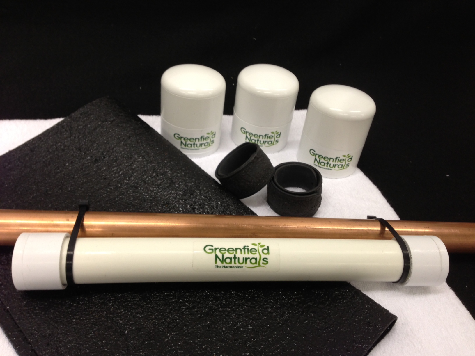 The Harmonizer Whole-house Protection Package  Includes 3 personal harmonizers, two Mineral Wrist Wraps, one Pipeline Harmonizer and one Harmonizer Mat