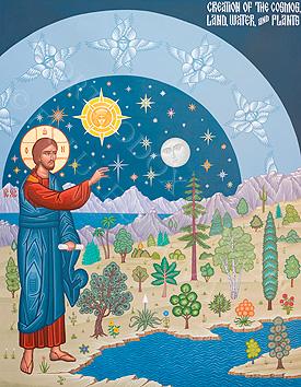Ancient Eastern Orthodox Creation Icon