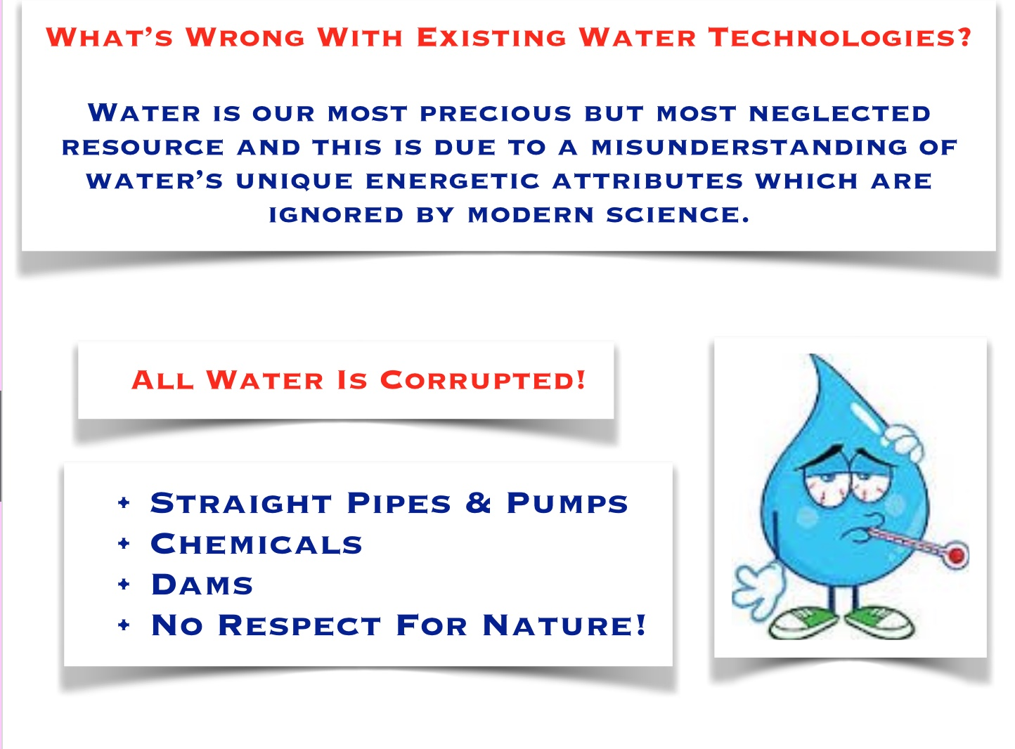 If your water was pumped out of an aquifer it will be in de-energised state and if you live in an agricultural area it will most likely be saturated with fertiliser, pesticide and herbicide residues. If you are on a public water utility your water have been chlorinated and is therefore toxic.