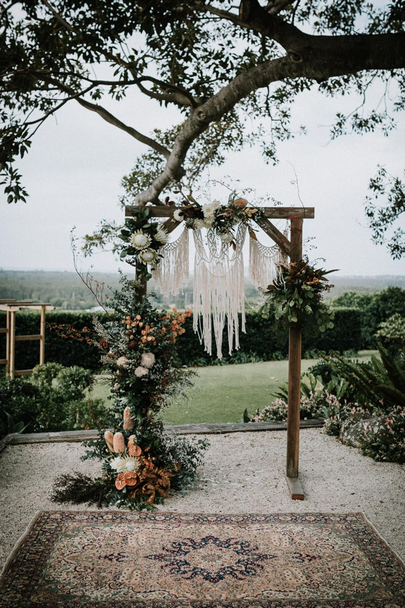 Boho byron bay wedding arbour