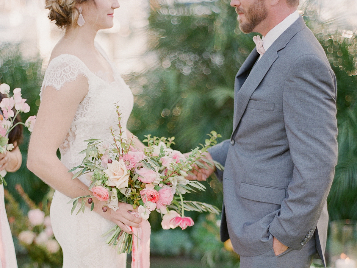 Pink garden wedding floral bouquet with silk velvet inspirations | Wedding gown idea | Groom style ideas