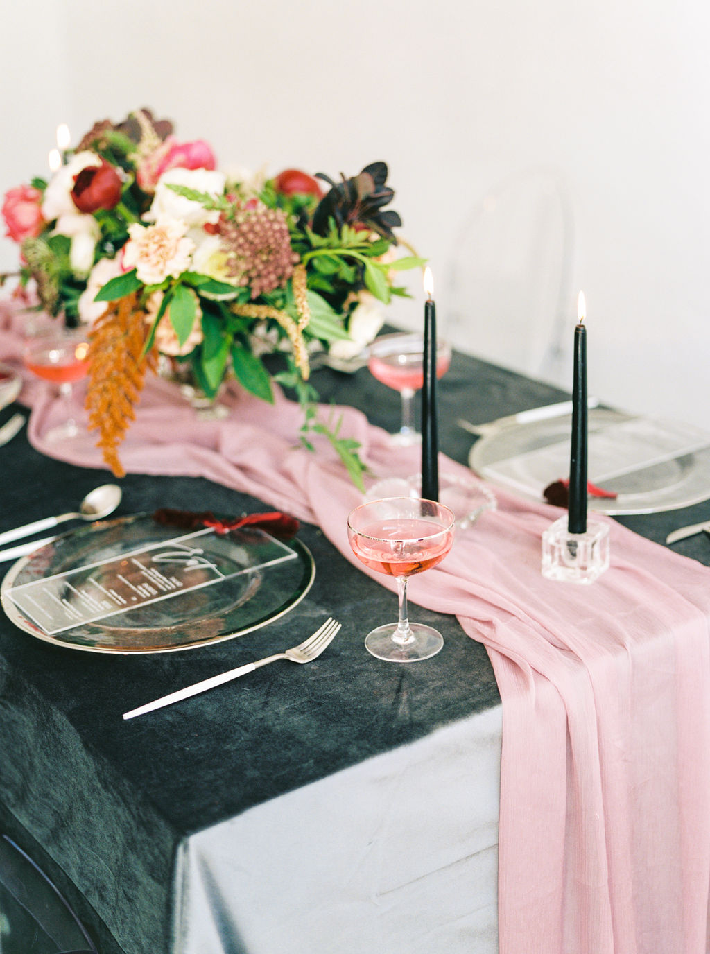 Pink silk table runner on dark velvet table linen wedding tablescape idea (Photo by: Olivia Richards Photo)