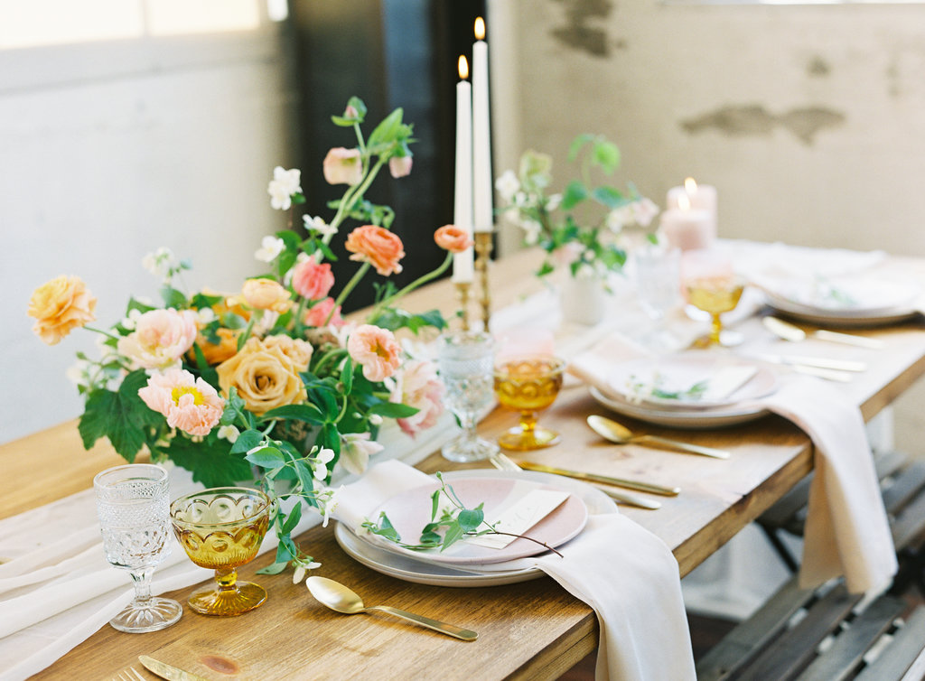 Fancy and light spring tablescape with silk table runners