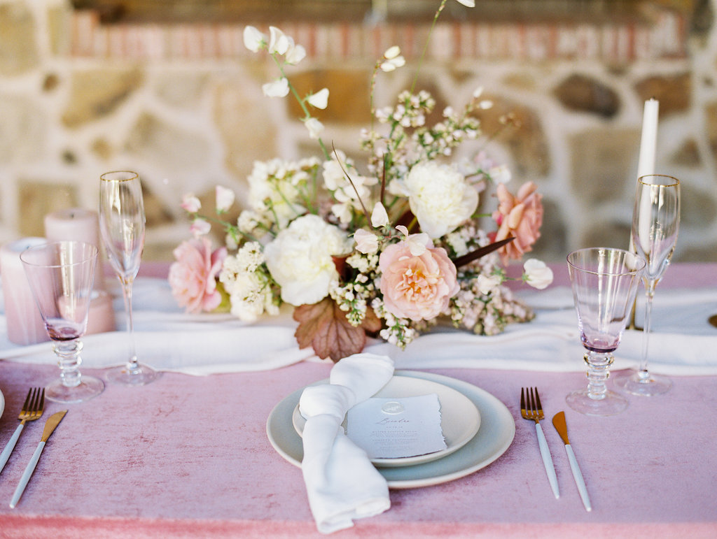 Gorgeous silk chiffon white table runners on pink velvet linens