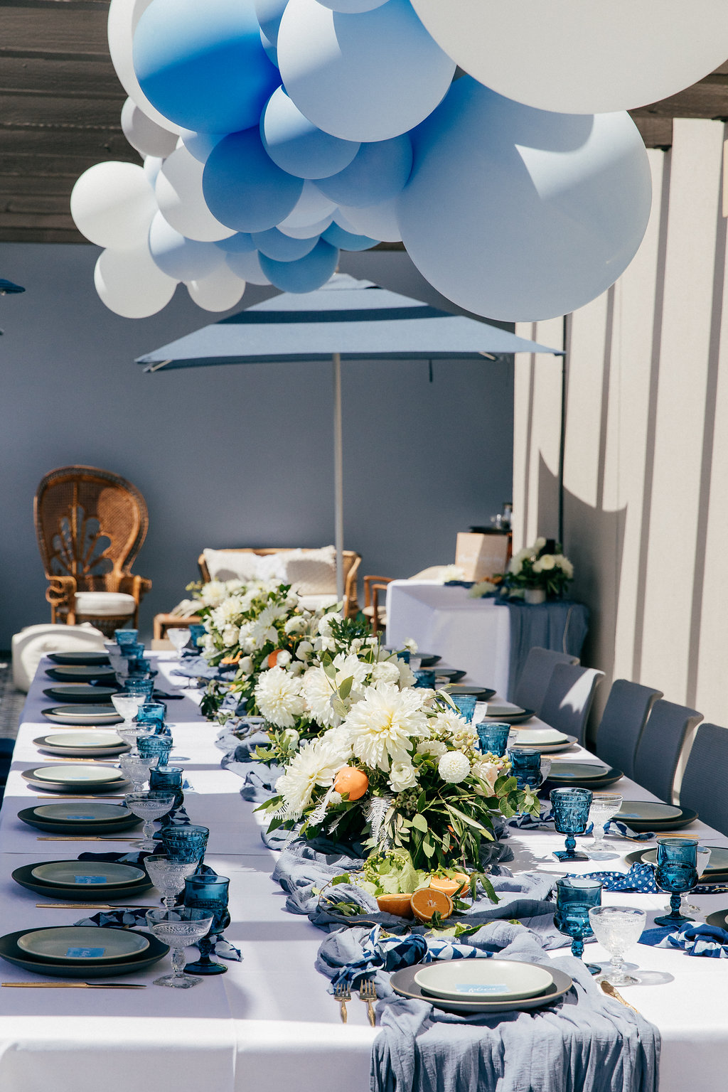 Fancy and blue baby shower tablescape idea