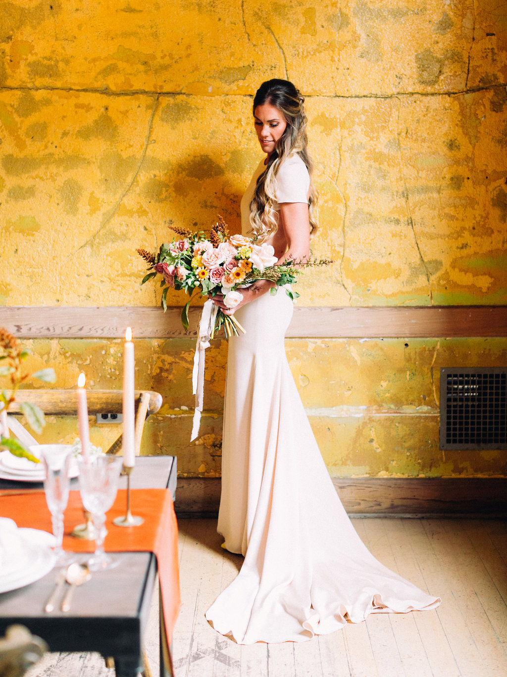 Simple Wedding Dress and Medium length silk ribbon white and nude bridal bouquet