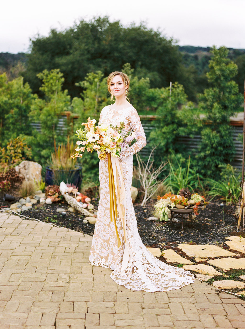 Gorgeous Royal Wedding Style Lace Wedding Gown with Mustard and Nude Silk Ribbon Bouquet