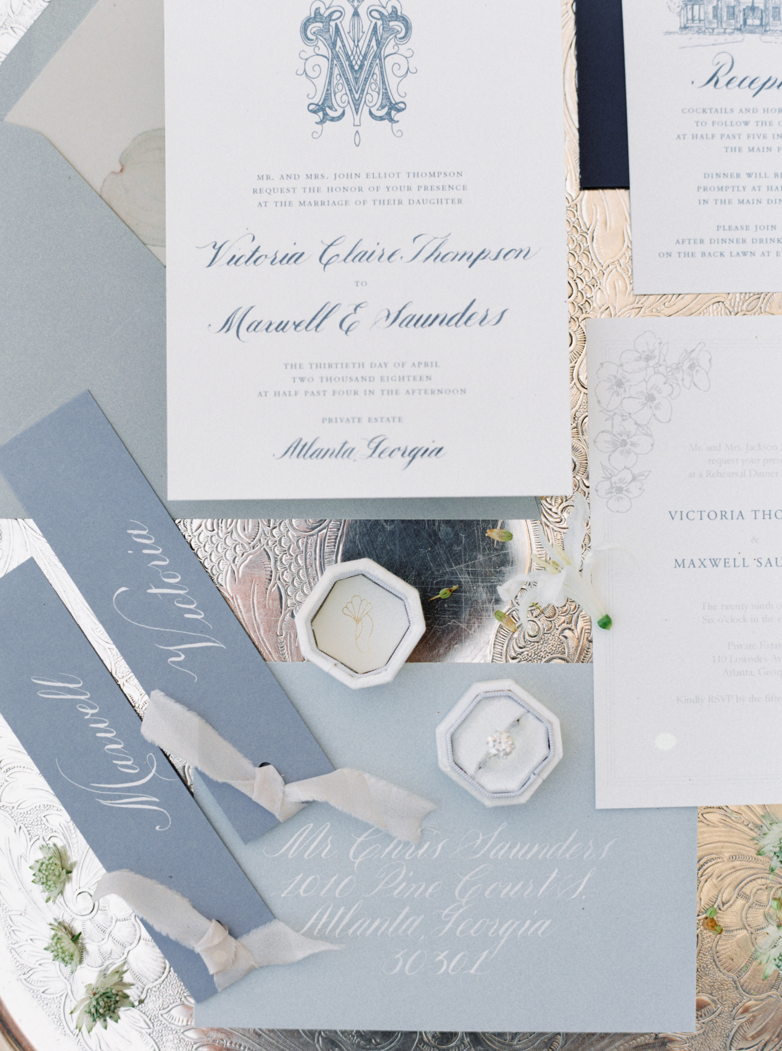 Pretty White and Light Blue Calligraphy Wedding Invitations