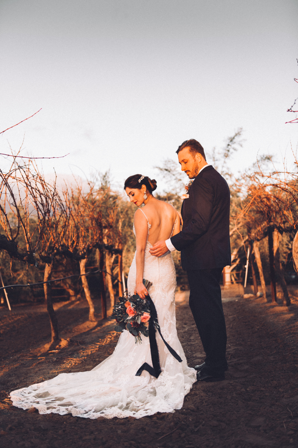 Gorgeous vineyard wedding photoshoot with long wedding gown and pretty bridal bouquet with silk velvet ribbon