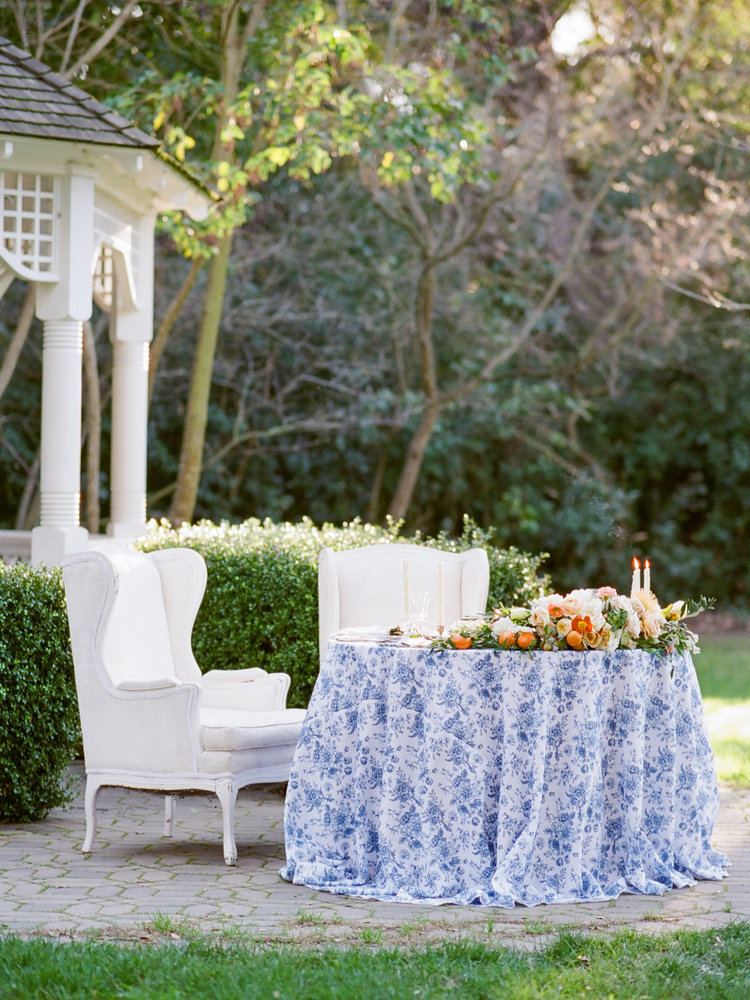 French Toile Linen for Sophisticated Outdoor Wedding or Brunch Tablescape