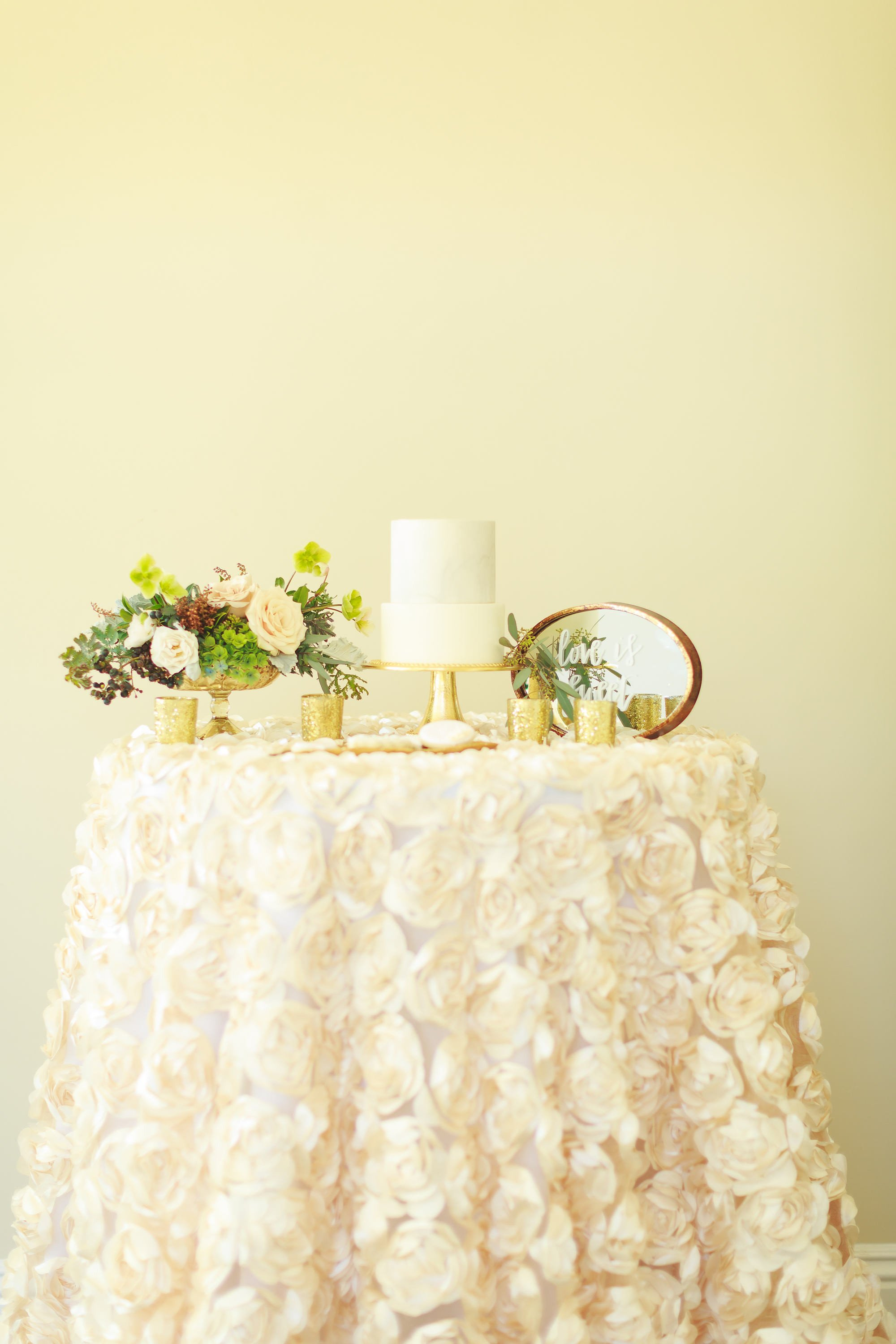 Elegant and stunning Rosette Satin Tablecloths. Ideal for sweetheart table, cake table, gift card table or any table