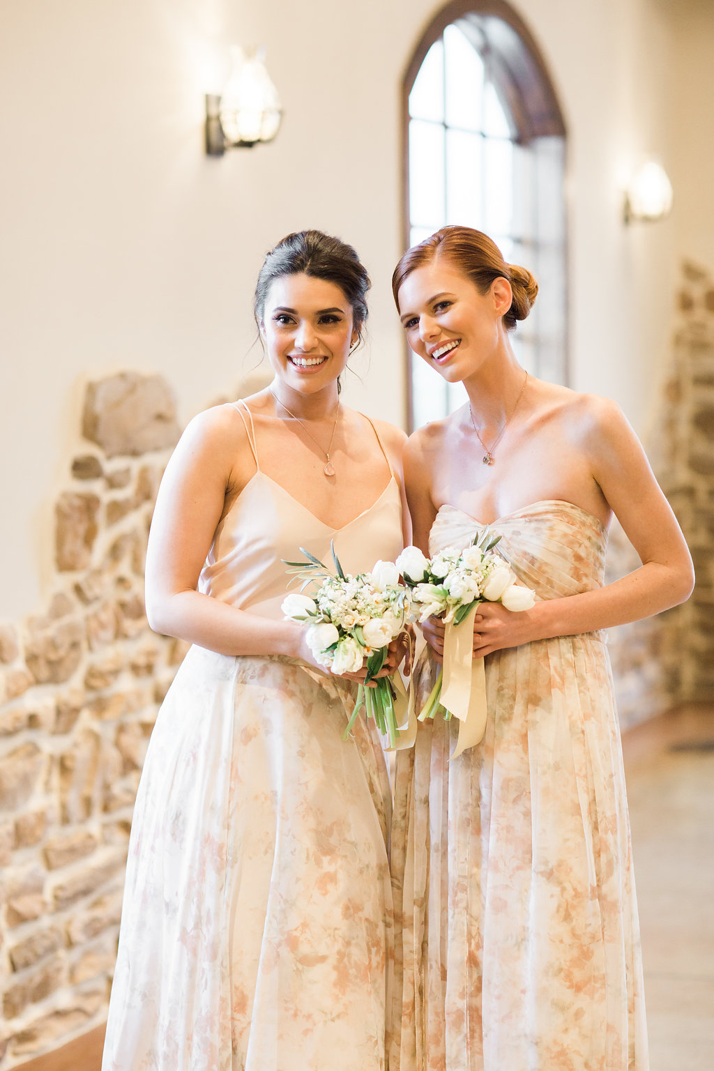 Simple Print Bridesmaid Dresses with Dainty Mini Floral Bouquets and Short Silk Ribbons