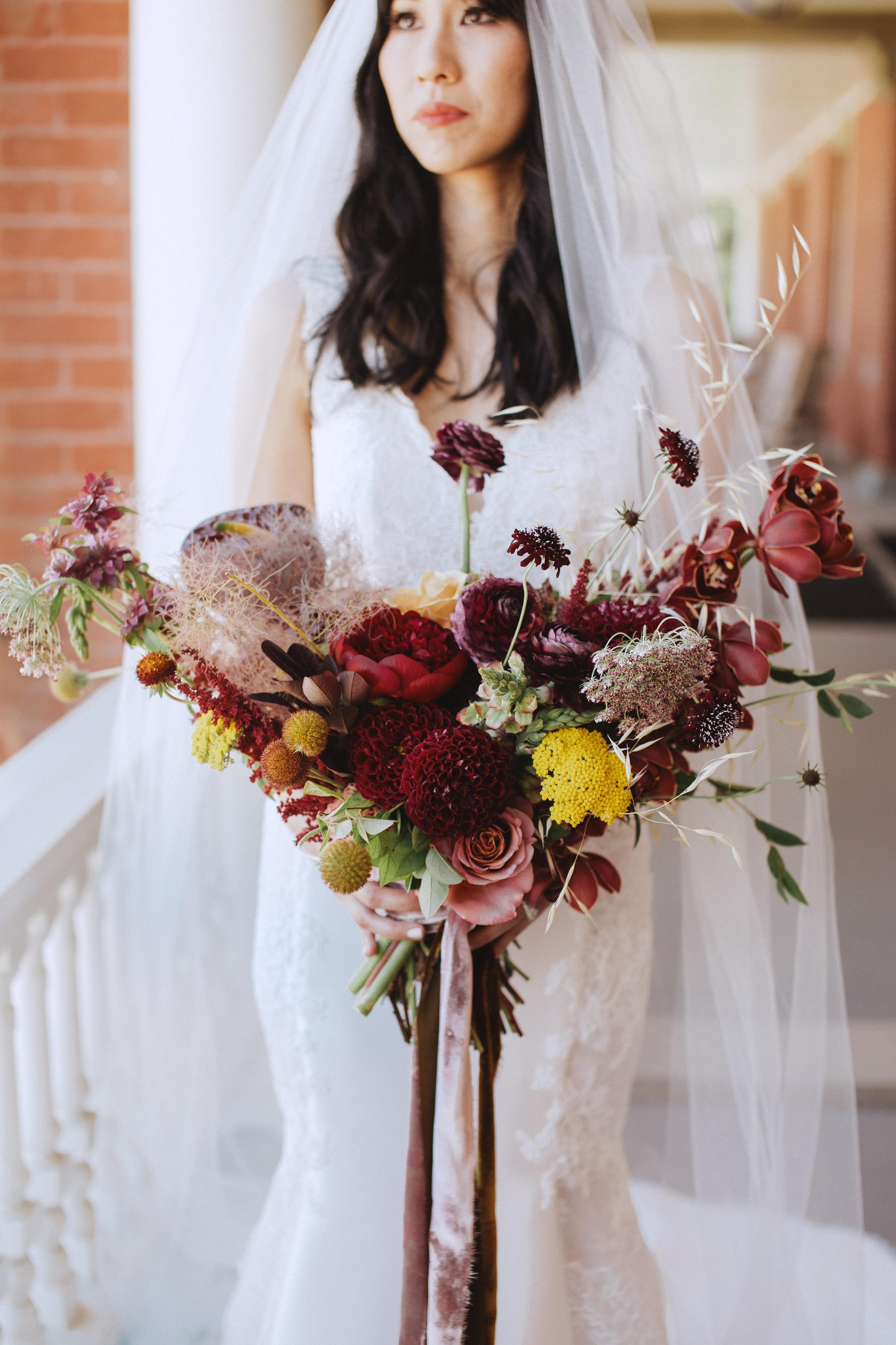 beautiful silk velvet bouquet and wedding gown idea