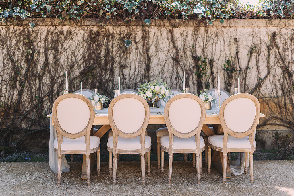 Pretty french inspired chairs for romantic outdoor wedding reception