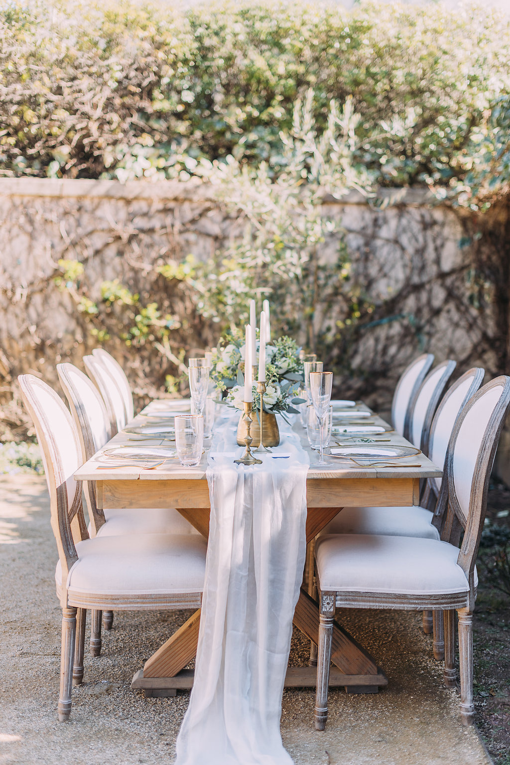 Pretty French Wedding table inspiration with gorgeous floor length white silk chiffon table runner