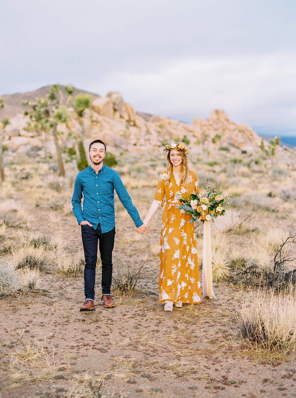 Joshua Tree Park Engagement Shoot with Boho vibes and Pretty floral bouquet
