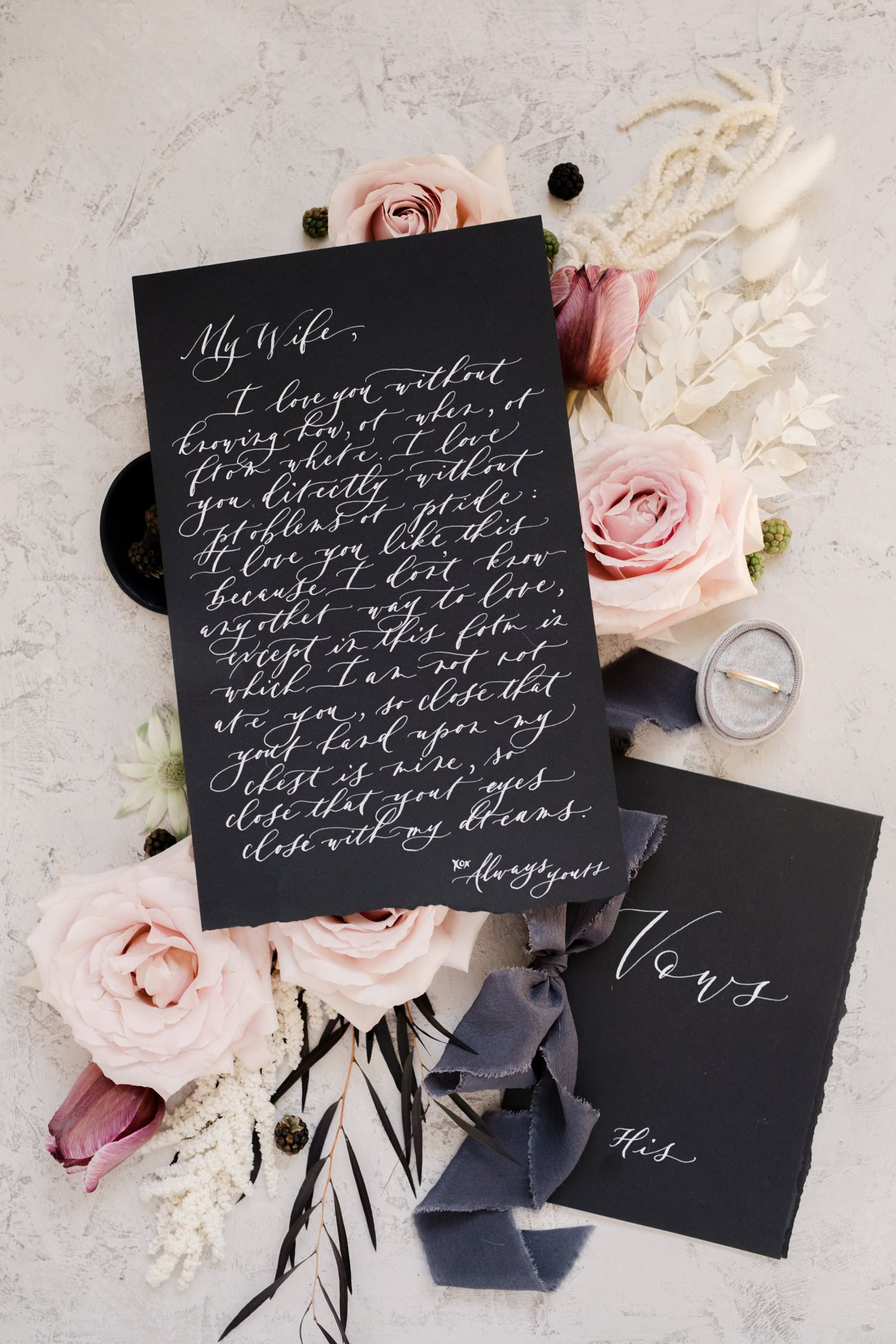 Black stationery for wedding invitation with calligraphy and hand dyed silk velvet ribbon