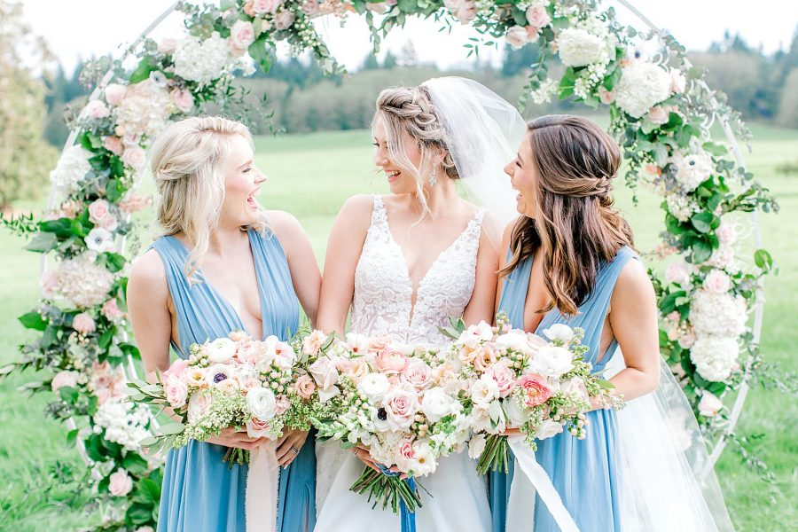 Light blue bride and bridesmaid dresses and silk ribbon bouquet idea for dreamy wedding