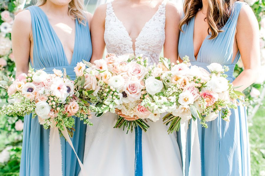 gorgeous bridal and bridesmaid floral bouquet with hand dyed silk velvet ribbons