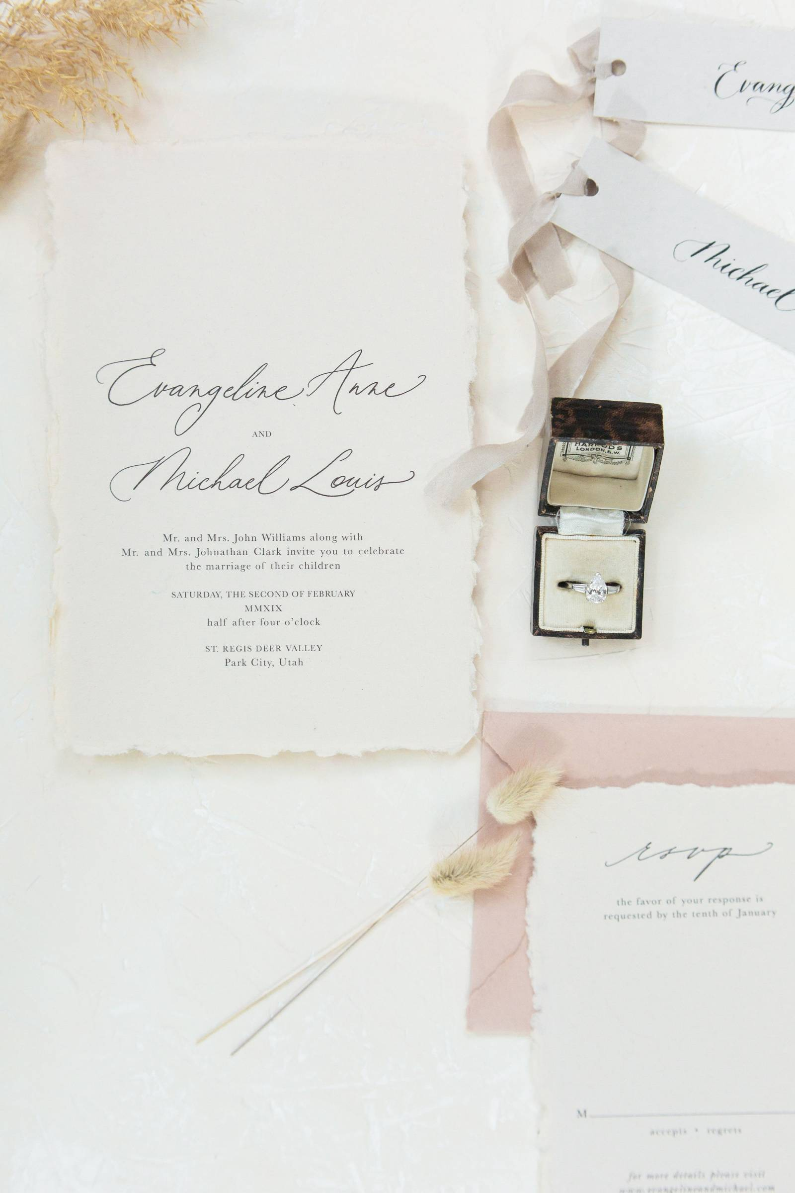 minimalist wedding invitation calligraphy with mini silk ribbons