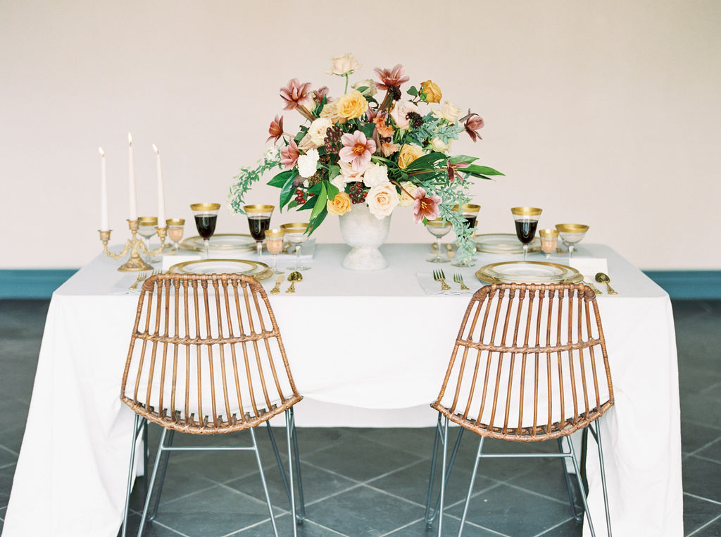 Modern, long, and flowy white table linen for wedding and events tablescape