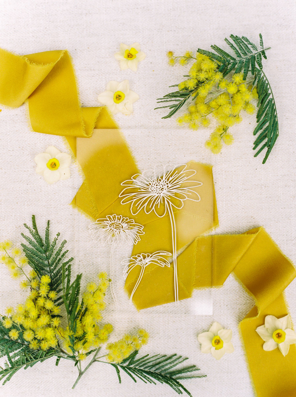 mustard silk ribbon for spring inspired wedding invitation