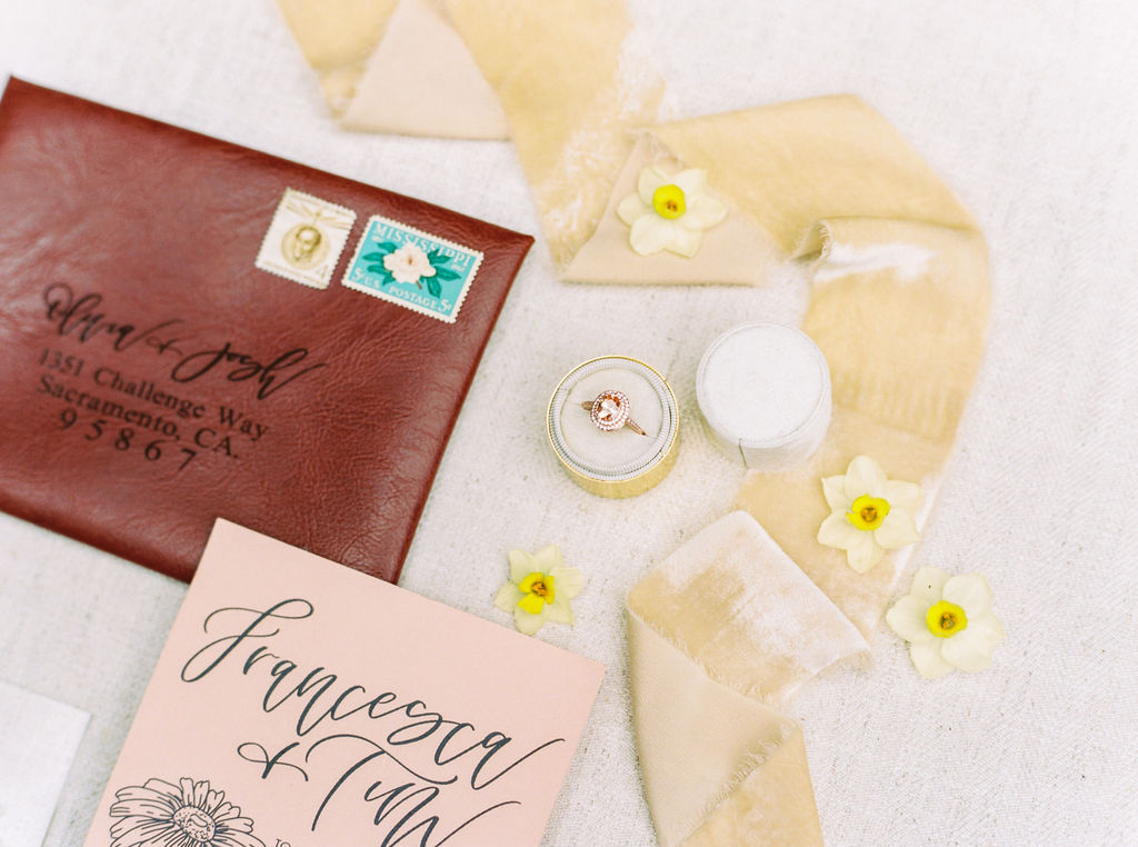 SIlk velvet ribbons for wedding invitation flatlay