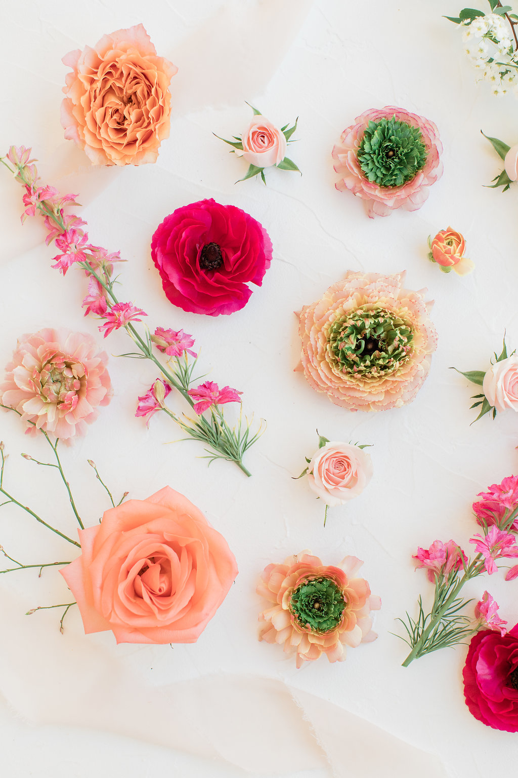 living coral inspired floral blooms flatlay
