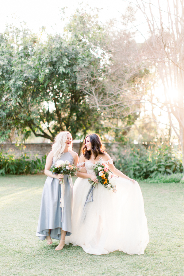 bride and bridesmaid inspo with pretty floral bouquets