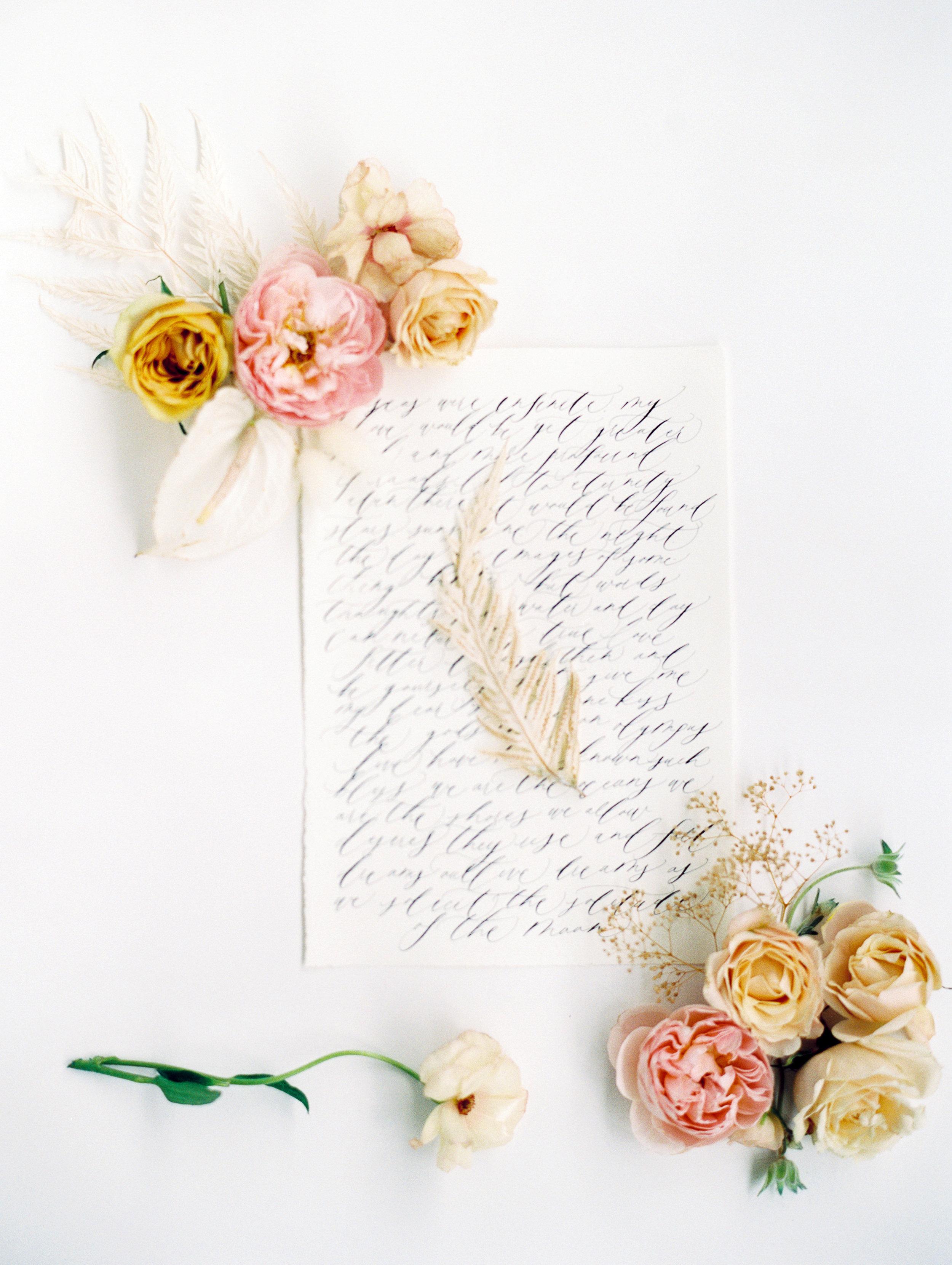 pretty florals and calligraphy wedding invitation idea