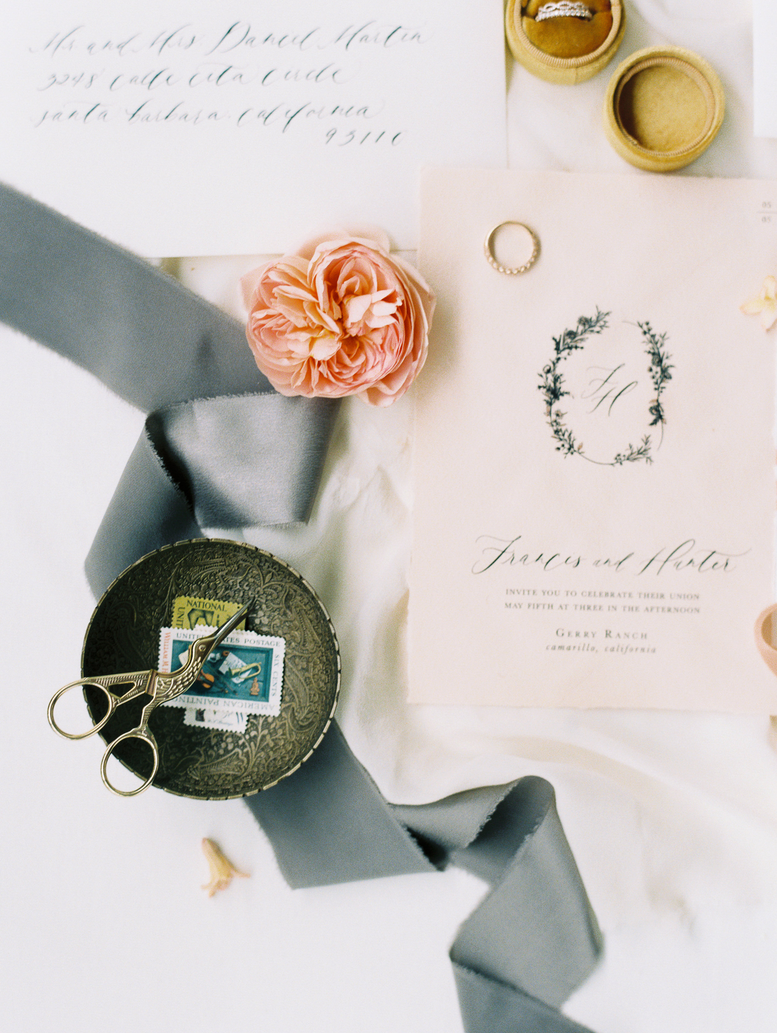 flowy ribbons for wedding stationery and flatlay design inspiration