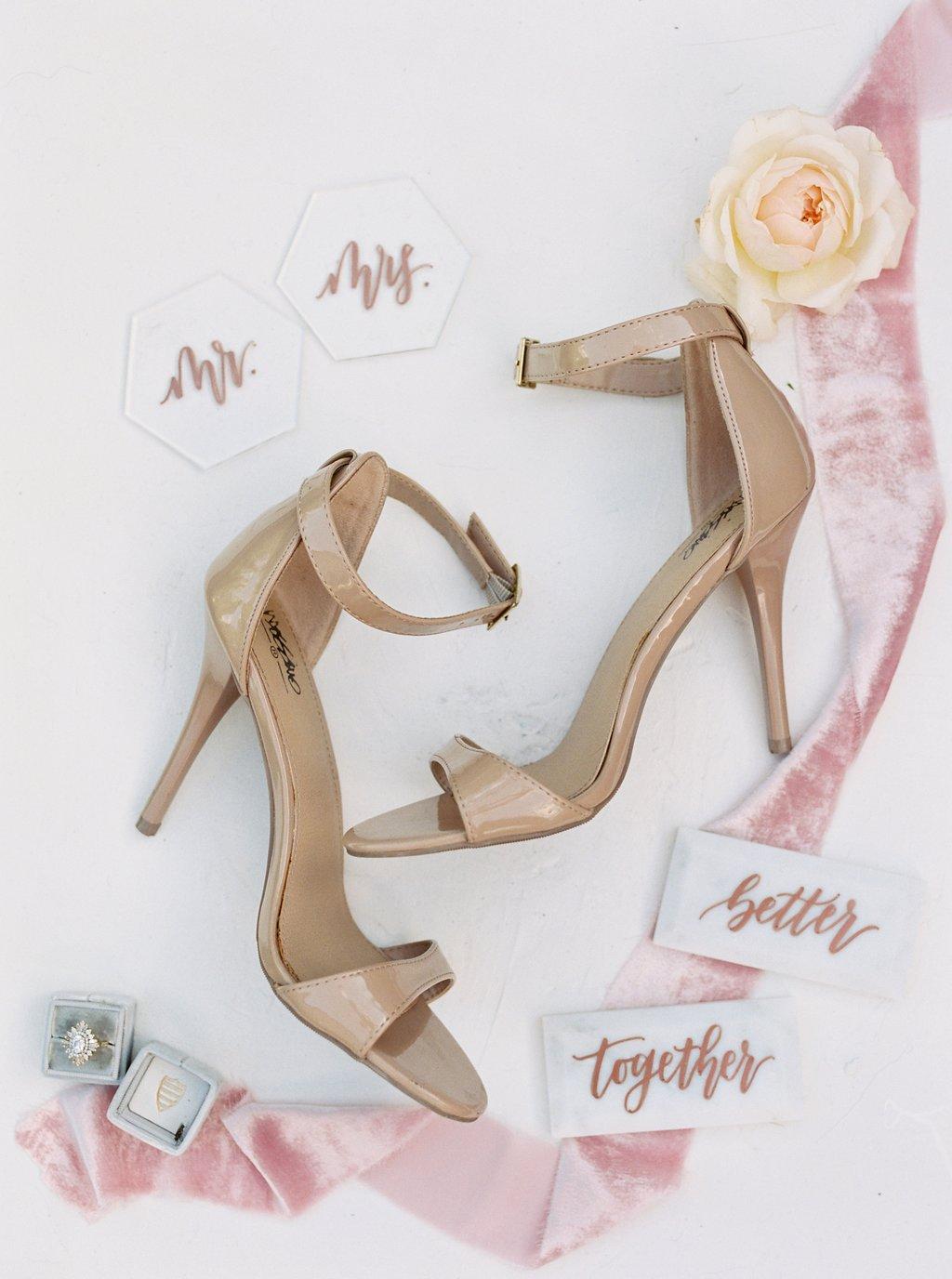nude heels wedding shoes idea pretty flatlay with silk velvet ribbons
