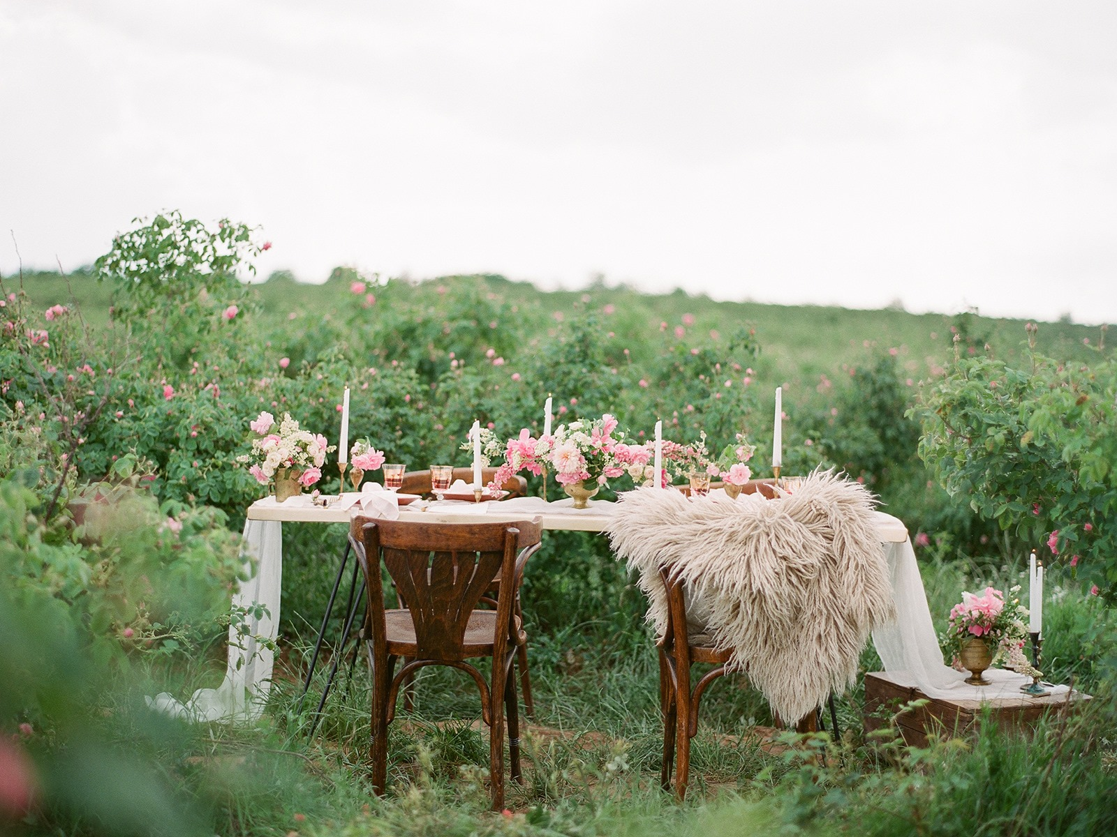 Unique European outdoor wedding tablescape