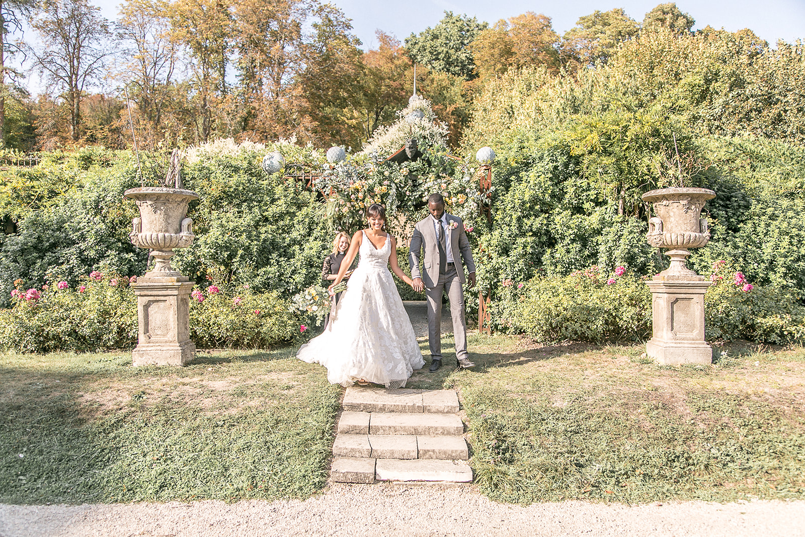 french wedding outdoor reception and bridal gown + groom style inspo