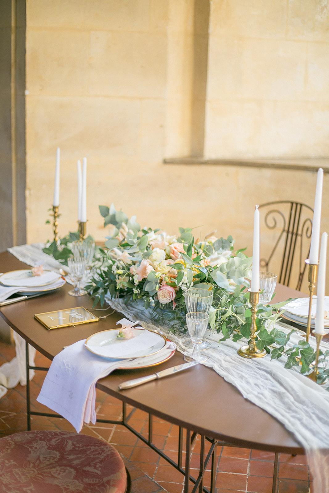 pretty floral centerpiece for french rustic wedding tablescape design idea
