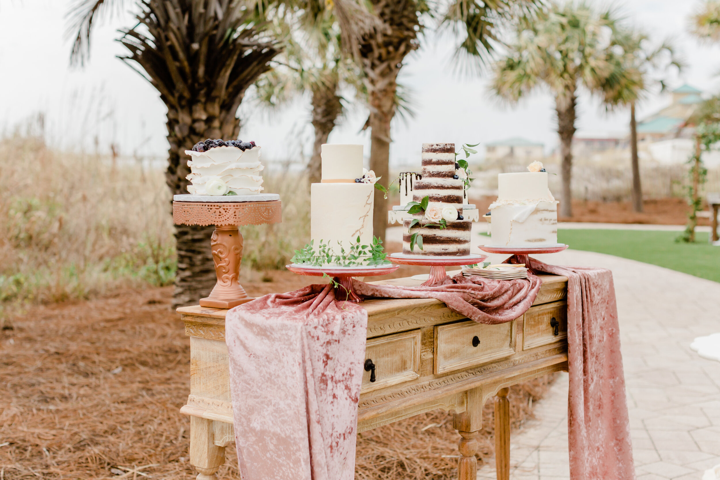 gorgeous cake stands and modern artsy wedding cake inspirations on vintage wooden table and silk velvet table runners