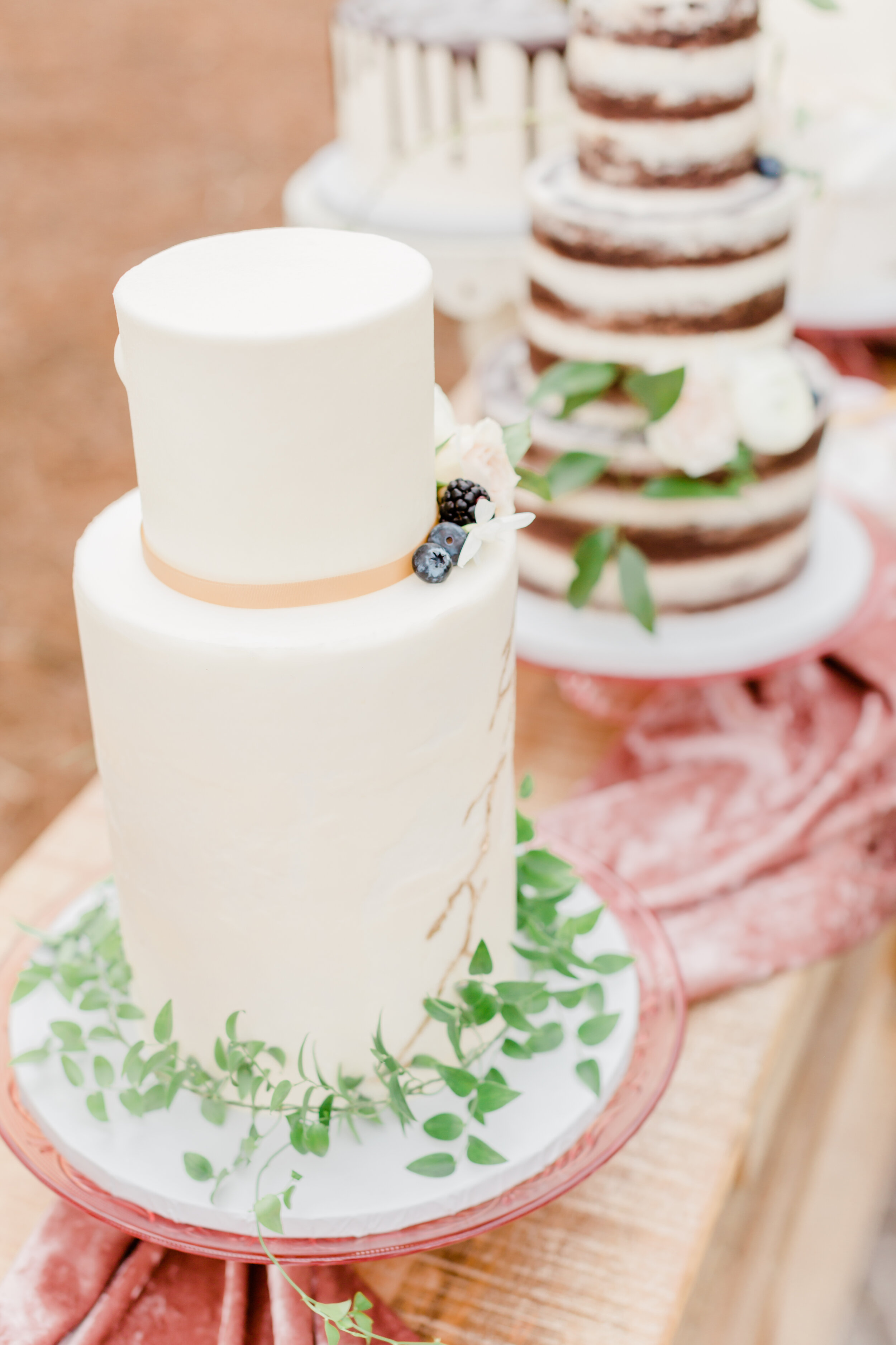 simple, modern, and artistic outdoor rustic wedding cake design inspiration with pretty silk velvet table runners