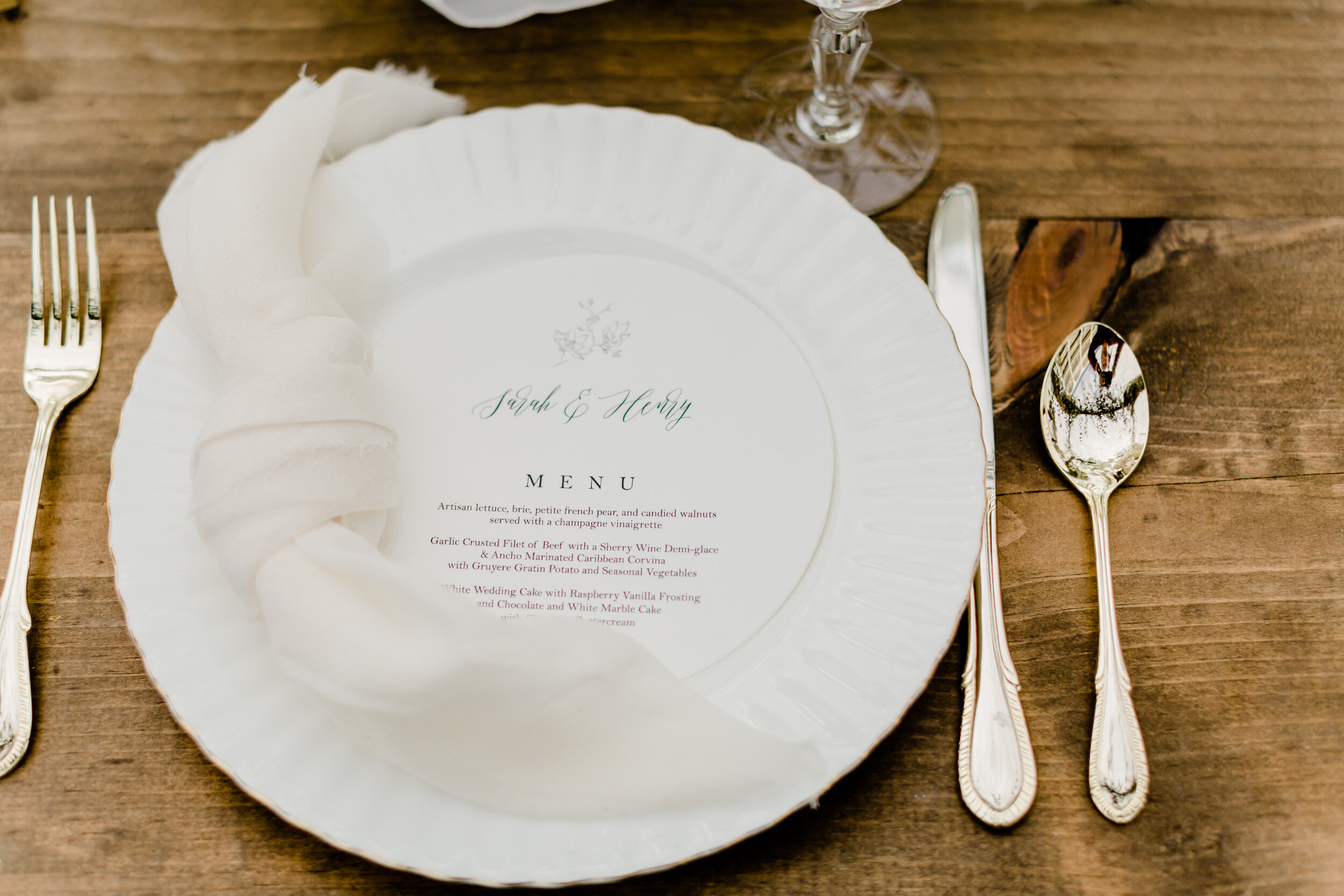 gorgeous tableware for vintage rustic wedding tablescape