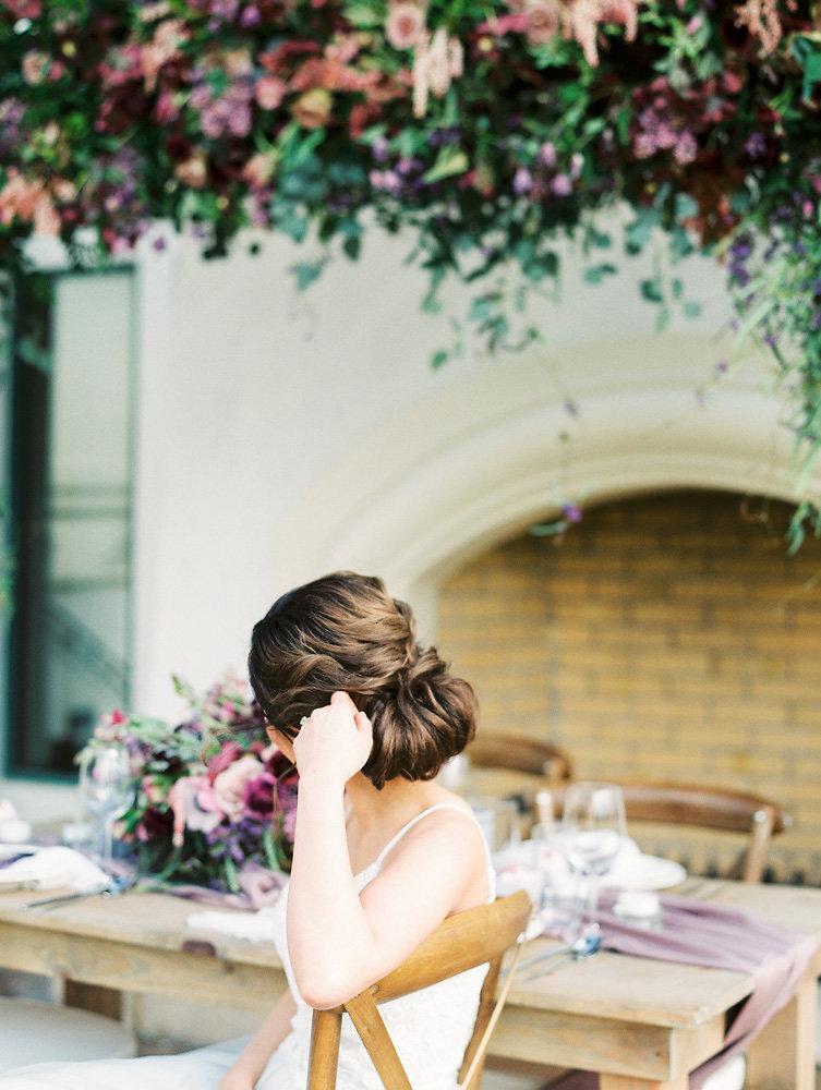 beautiful bridal hair updo inspiration and muted fall tones wedding theme idea