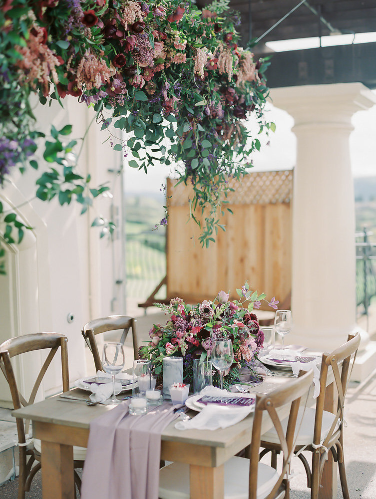 pretty fall garden wedding tablescape with gorgeous lavender silk table runners