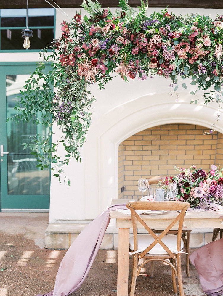 Flowy table runners for rustic dreamy garden wedding with beautiful florals
