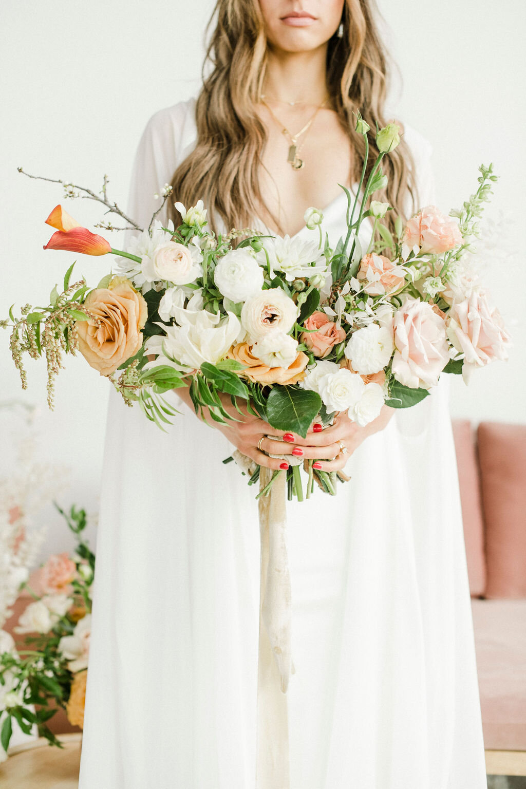 dreamy and gorgeous bohemian bridal look with pretty silk ribbon bouquet