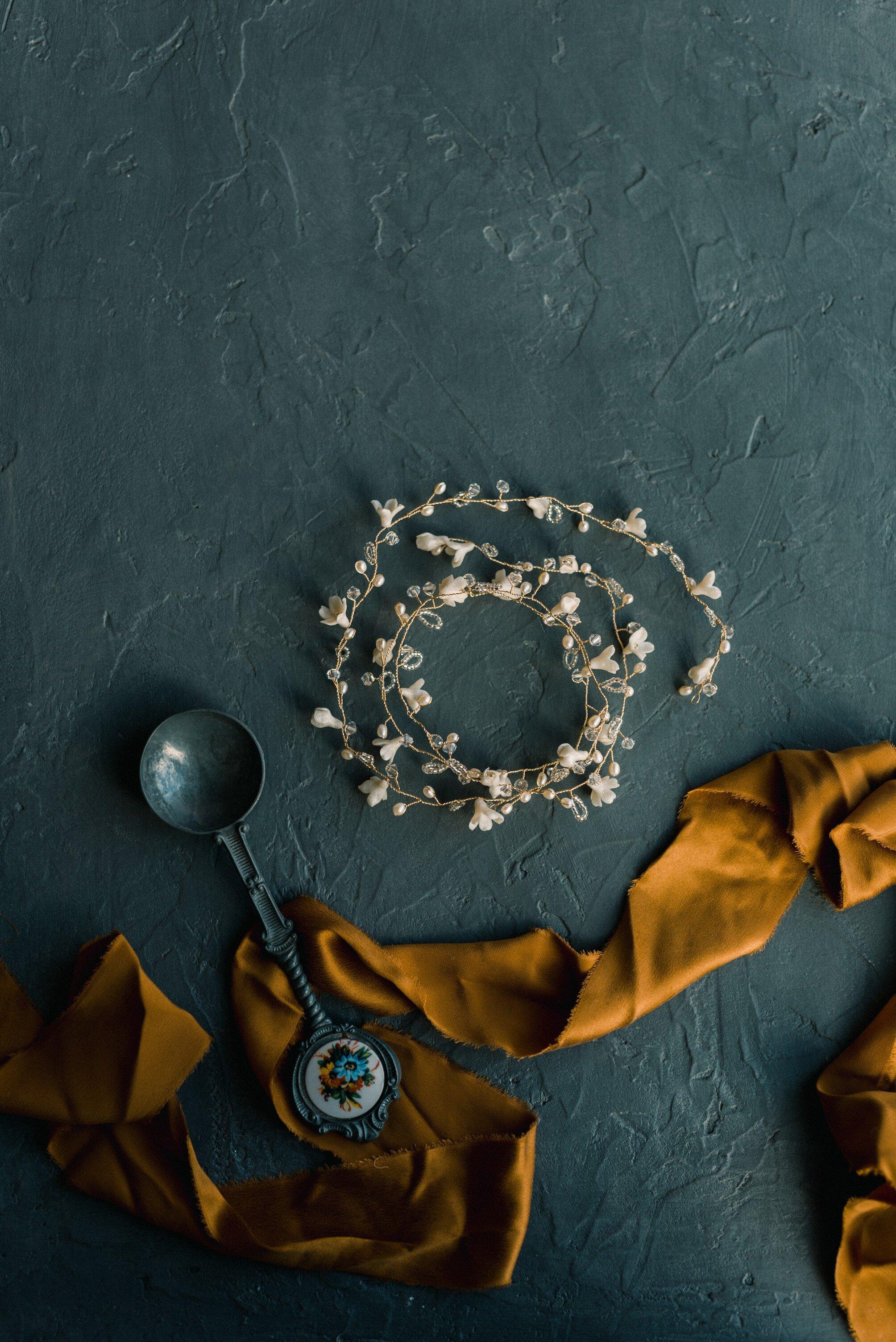 Golden-amber silk velvet ribbons and vintage wrap bracelet for flatlay inspo