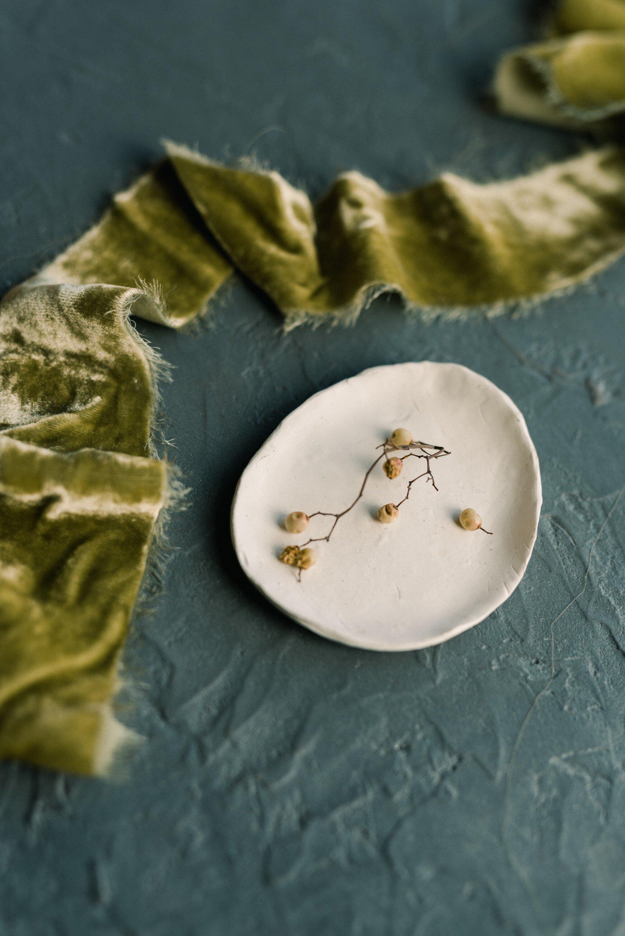 pretty Moss green silk velvet ribbons for wedding design and flatlays